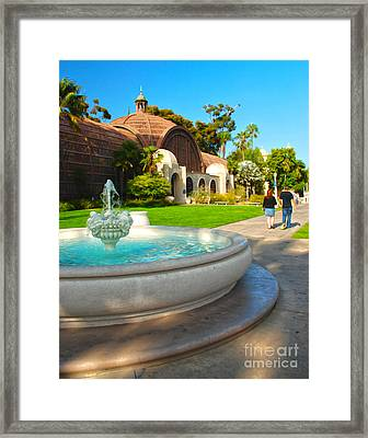 Botanical Building And Fountain At Balboa Park Framed Print by Claudia Ellis