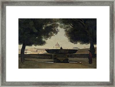 The Fountain Of The French Academy In Rome, 1826-27 Oil On Canvas Framed Print