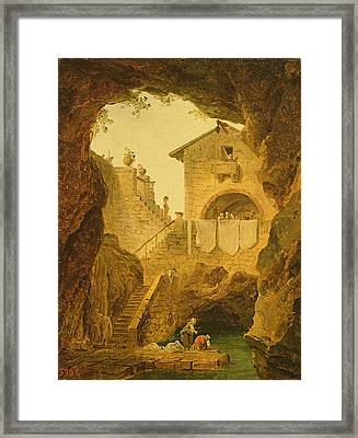 The Fountain Under The Grotto Oil On Canvas Framed Print by Hubert Robert