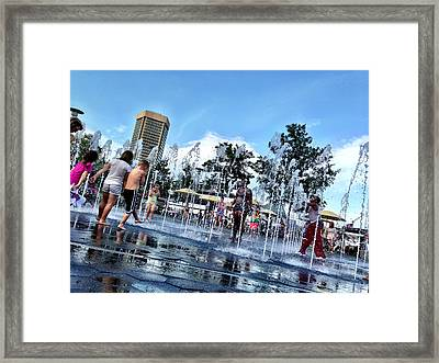 The Fountains At The Inner Harbor Framed Print