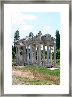 The Four Roman Columns Of The Ceremonial Gateway  Framed Print by Tracey Harrington-Simpson