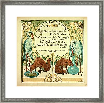 The Fox And The Crane Framed Print by English School