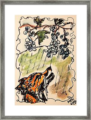 The Fox And The Grapes Framed Print by Mimulux patricia no No