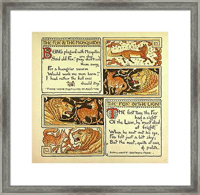 The Fox And The Mosquitoes The Fox And The Lion Framed Print by English School