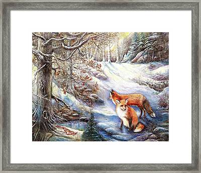 The Foxes Of Panel Mine Road Framed Print by Patricia Schneider Mitchell