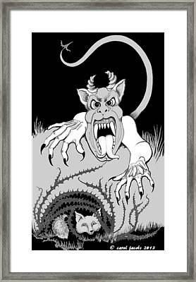 Framed Print featuring the digital art The Fox's Fiend  by Carol Jacobs