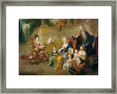 The Franqueville Family, 1711 Oil On Canvas Framed Print