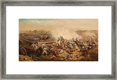 The Fray Between Prussian And Austrian Cuirassiers Infantrymen Framed Print by Celestial Images