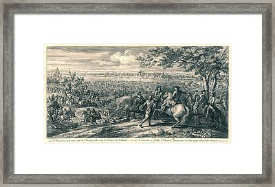 The French Armies Crossing The Rhine At Lobith Framed Print by Charles Louis Simonneau And Adam Frans Van Der Meulen