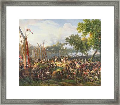 The French Army Crossing The Rhine At Dusseldorf Framed Print by Louis Lejeune