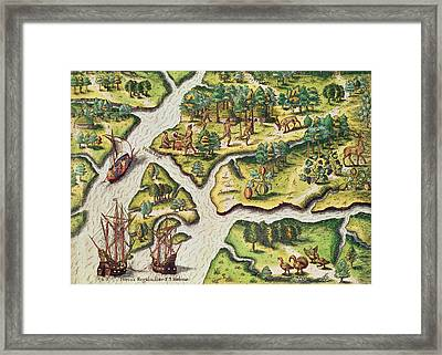 The French Arrive At Port Royal Framed Print