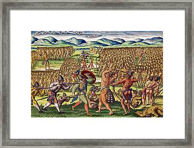 The French Help The Indians In Battle Framed Print by Jacques Le Moyne