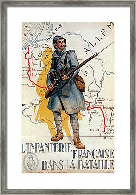 The French Infantry In The Battle Framed Print