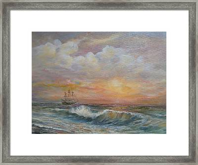 Framed Print featuring the painting Sunlit  Frigate by Luczay
