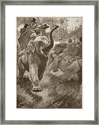 The Frightened Elephants Rushed Back Framed Print by Stanley L. Wood