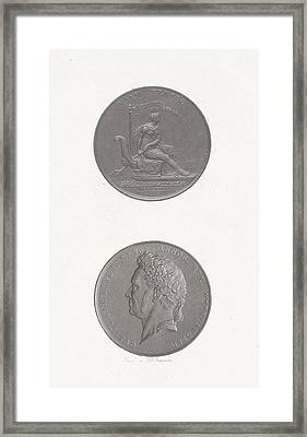The Front And Back Of A Coin To Commemorate The 25th Framed Print