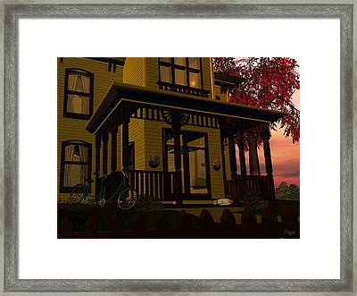 Framed Print featuring the digital art The Front Porch by John Pangia