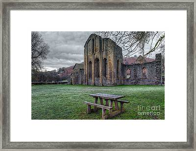 The Frosty Bench Framed Print
