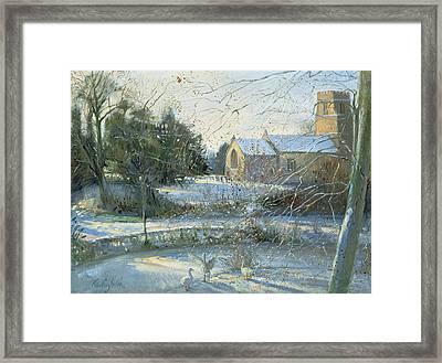 The Frozen Moat, Bedfield  Framed Print by Timothy Easton
