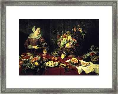 The Fruit Bowl Oil On Canvas Framed Print by Frans Snyders or Snijders