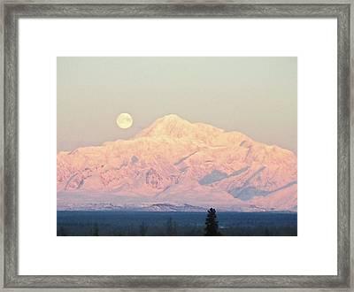 The Full Moon Over Denali Framed Print by Dora Miller