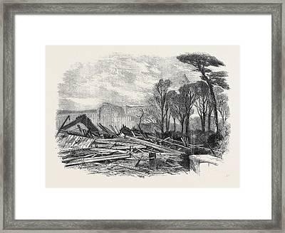The Gale Of Last Week Ruins Of The North Wing Of Sydenham Framed Print by English School