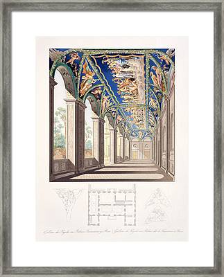 The Gallery Of Psyche At The Villa Framed Print by Jacques Belly