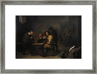 The Gamblers, C. 1640, By David Teniers The Younger 1610-1690 Framed Print by Bridgeman Images