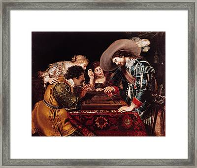The Game Of Backgammon Oil On Canvas Framed Print