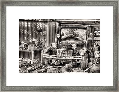 The Garage Sale Black And White Framed Print