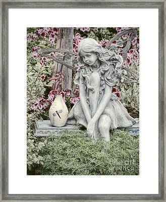 The Garden Fairy Framed Print by Peggy Hughes