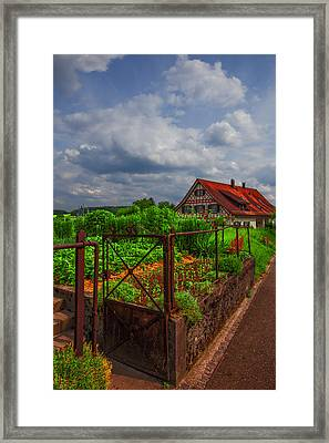 The Garden Gate Framed Print by Debra and Dave Vanderlaan