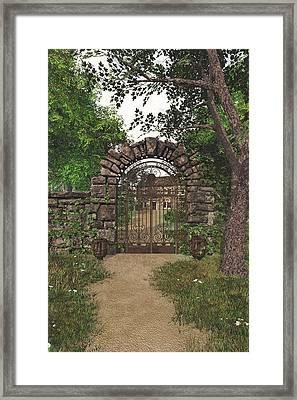 Framed Print featuring the digital art The Garden Gate by Jayne Wilson