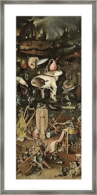 The Garden Of Earthly Delights, C.1500 Oil On Panel Detail Of 3425 Framed Print by Hieronymus Bosch