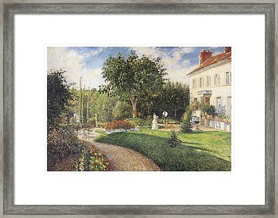The Garden Of Les Mathurins At Pontoise Framed Print by Camille Pissarro