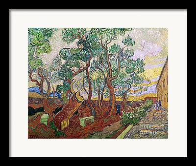 The Garden Of St. Pauls Hospital At St. Remy Framed Prints