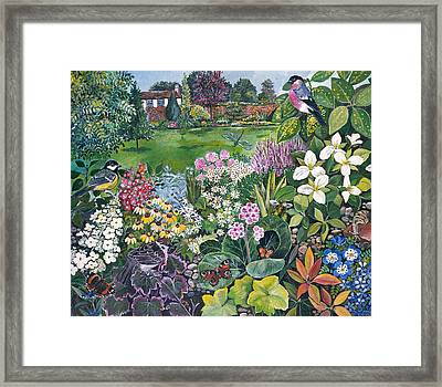 The Garden With Birds And Butterflies Framed Print by Hilary Jones