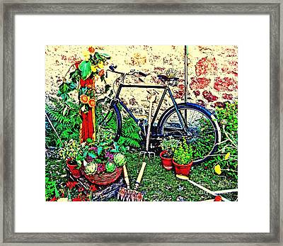 The Gardener's Bike Framed Print by Callan Percy