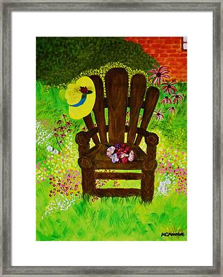 The Gardener's Chair Framed Print by Celeste Manning