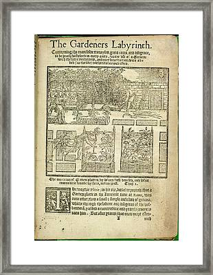 The Gardeners Labyrinth Framed Print by British Library