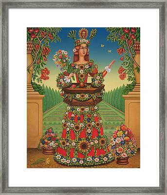 The Gardeners Wife, 2005 Oil & Tempera On Panel Framed Print by Frances Broomfield