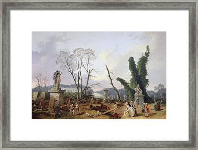 The Gardens Of Versailles Oil On Canvas Framed Print