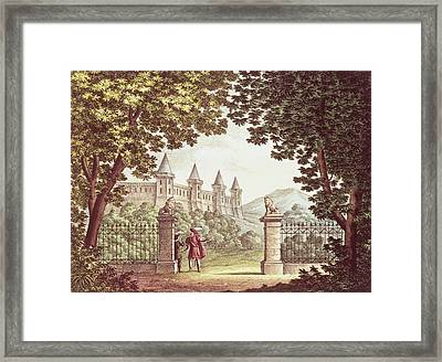 The Gardens Of Windsor Castle, Set Design For The Opera Anna Bolena, Engraved By Ricordi Engraving Framed Print