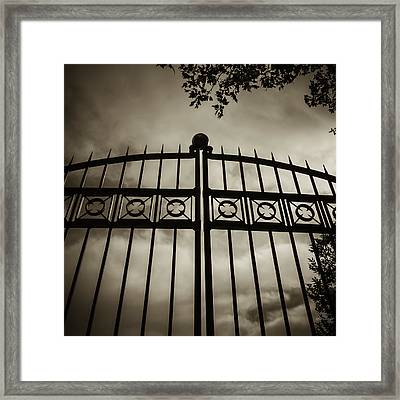 The Gate In Sepia Framed Print