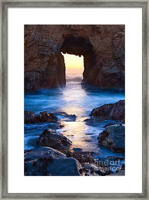 The Gateway - Sunset On Arch Rock In Pfeiffer Beach Big Sur In California. Framed Print by Jamie Pham