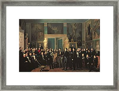 The Gathering Of The Poets, 1846 Oil On Canvas Framed Print by Antonio Maria Esquivel
