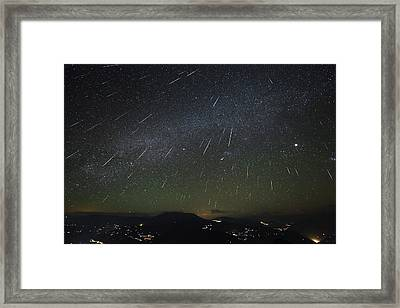 The Geminids Meteor Shower Streaks Framed Print by Jeff Dai