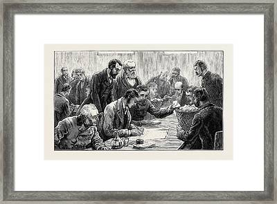 The General Election Counting The Votes At The Southwark Framed Print