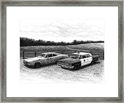 Framed Print featuring the drawing The General Lee And Barney Fife's Police Car by Janet King