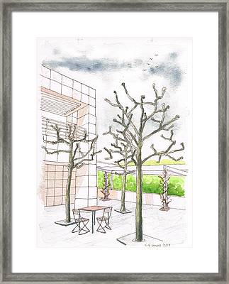 Winter In The Getty Center, Los Angeles, Ca Framed Print